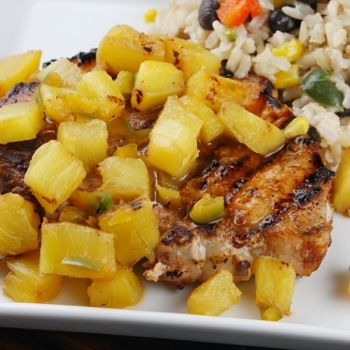 Image for Chili- Rubbed Pork Chops w/ Grilled Pineapple Salsa