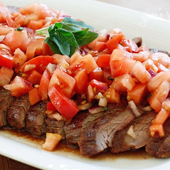 Image for Grilled Flank Steak With Tomatoes, Red Onion and Balsamic
