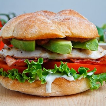 Image for Grilled Chicken and Club Sandwich with Avocado and Chipotle Caramelized Onions