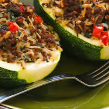 Image for Stuffed Zucchini Recipe with Brown Rice, Ground Beef, Red Pepper, and Basil