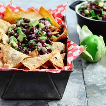Image for Black Bean-Avocado Salsa with Home-Baked Tortilla Chips