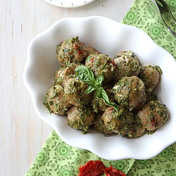 Image for Baked Caprese Turkey Meatball Recipe with Sun-Dried Tomatoes, Mozzarella & Basil Pesto