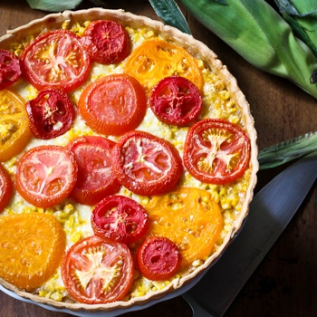 Tomato, Corn, and Vidalia Onion Tart