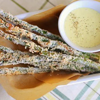 Image for Baked Parmesan Asparagus Fries with Homemade Lemon-Garlic Aioli