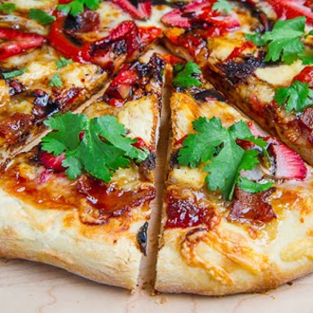Image for Balsamic Strawberry and Chicken Pizza with Sweet Onions and Smoked Bacon