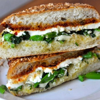 Image for Garlicky Broccoli Rabe, Fresh Mozzarella, and Tomato Jam Sandwich from Cutty's