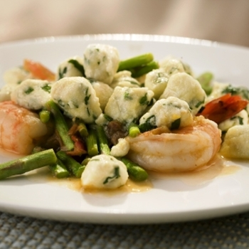 Image for Dante DeMagistris' Basil Ricotta Gnocchi with Shrimp and Asparagus