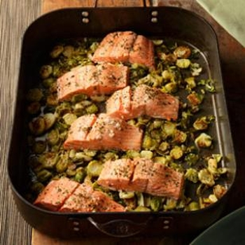 Image for Garlic Roasted Salmon & Brussels Sprouts