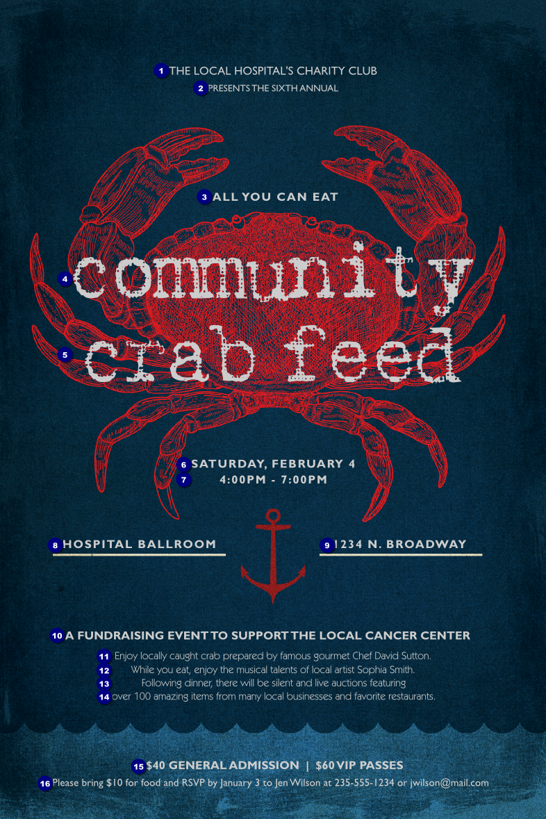 Crab Dinner Poster Ticket Printing