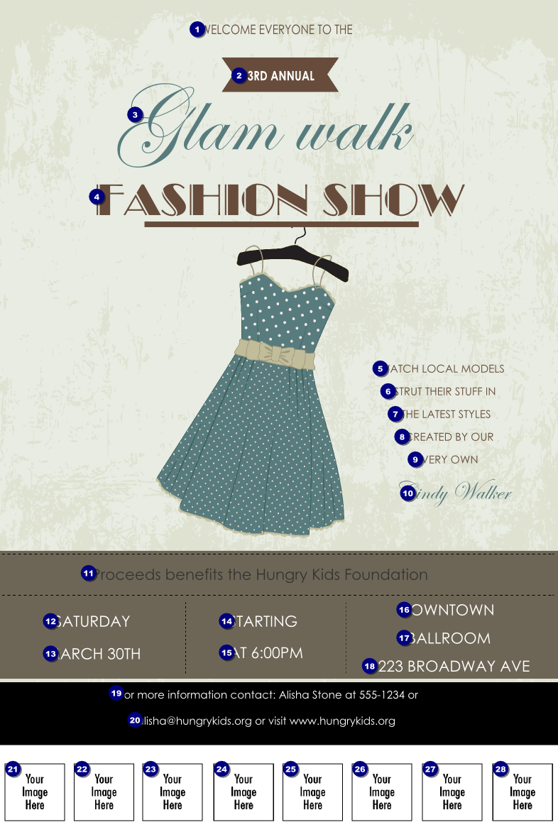Fashion show logo poster ticket printing for Fashion show ticket template