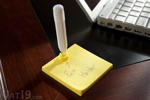 The Erasable Memo Pad features a small pen holder so you've always got a writing implement nearby.