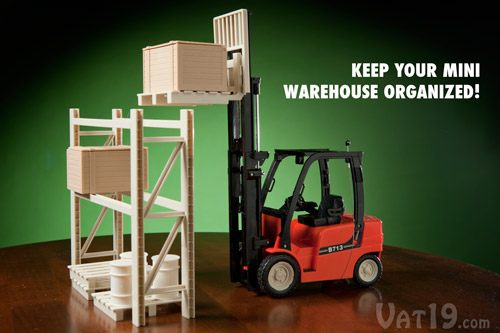 Included rack accessories make the R/C Mini Toy Forklift tons of fun!