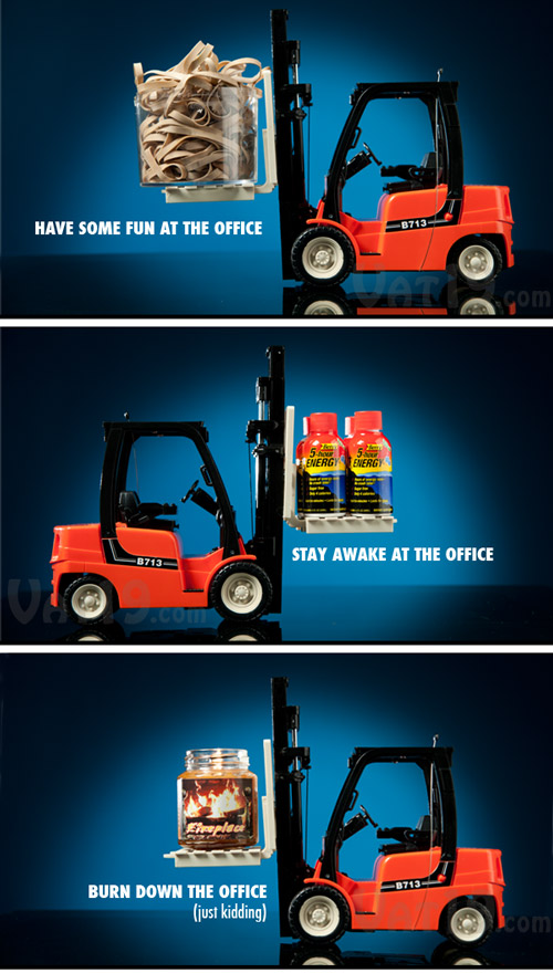 The fully functional toy forklift can lift up to 11 ounces of small items.