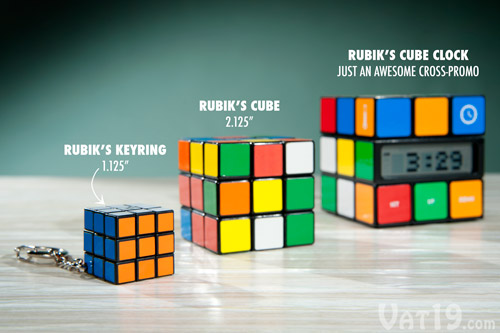 The Rubik's Cube Keyring is roughly half the size of the original.
