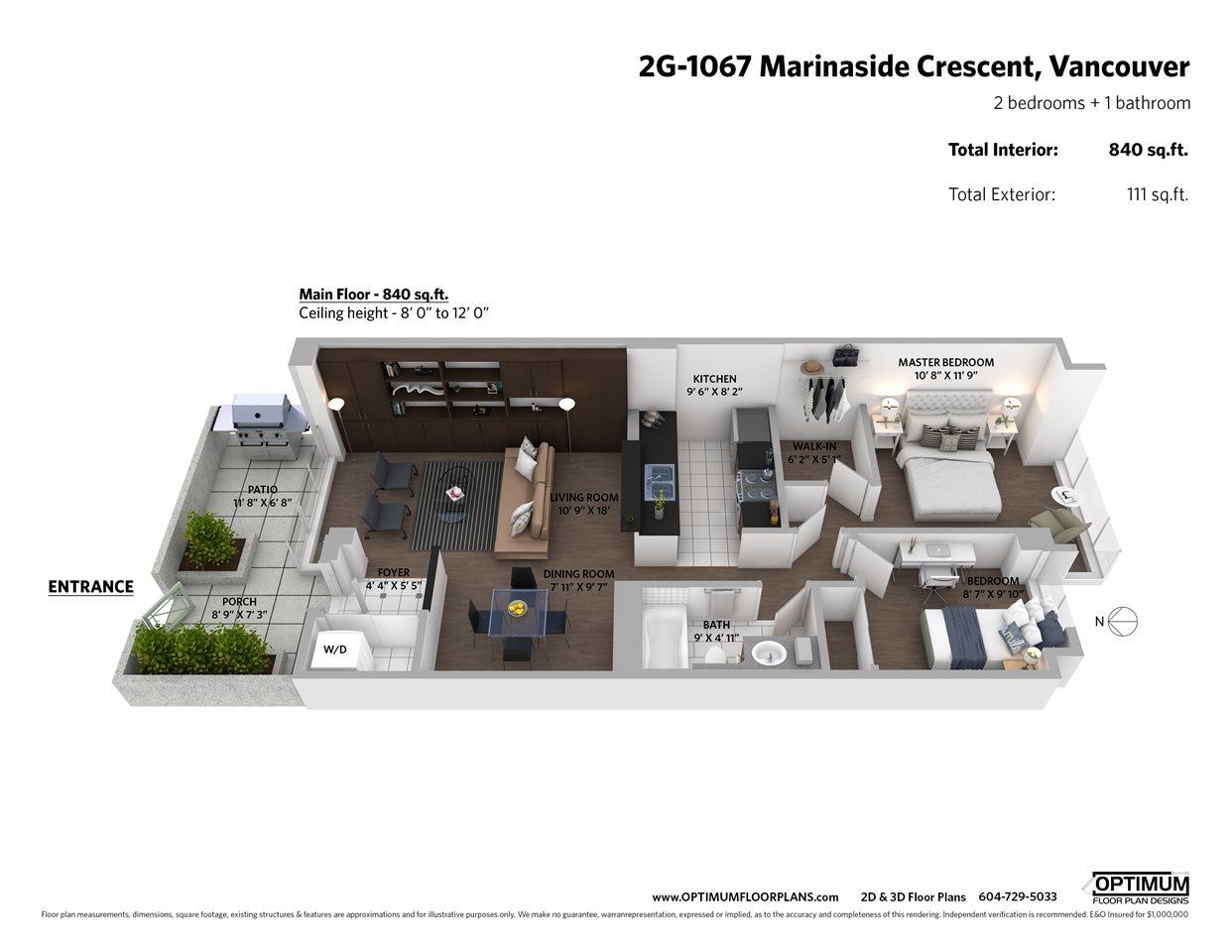 2G 1067 MARINASIDE CRESCENT - MLS® # R2431757