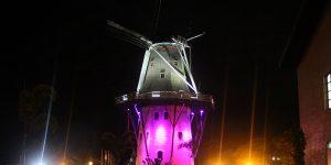 Moinho de Holambra tem iluminação especial para o Outubro Rosa
