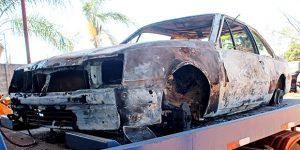 GCM localiza carro carbonizado com queixa de furto em Artur Nogueira