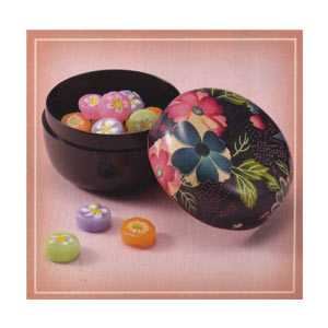DX Green Tea & Kompeito Case ~ Kimono Pattered Genuine Lacquered Ware 