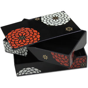 Black KIKU  Flower Art Lacquered Large Size 2 Tier  Bento Box & Elastic Belt