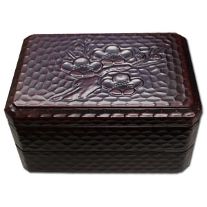 Carved Wooden Lacquered 2 Tier Bento Box & Elastic Band ~ Ume / Japanese Plum