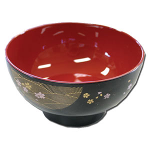 Wave & Cherry Petals -- Japanese Daily Soup Bowl