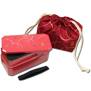 Red WAON Bento Box Set ~ Square 2 tier Bento Box & Chopsticks & Bento Bag