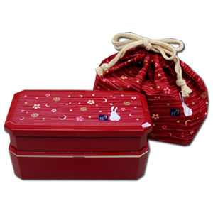 Red Rabbit x Moon Bento Box Set ~ Square 2 tier Bento Box & Chopsticks & Bento Bag