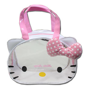 Hello Kitty Face Die Cut Vinyl Bag ~ Pink 