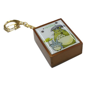 Totoro & Umbrella Wooden Music Box Key Chain