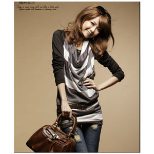 Brown Border One-Piece and Black Shirt Set (Brown) ~ size M