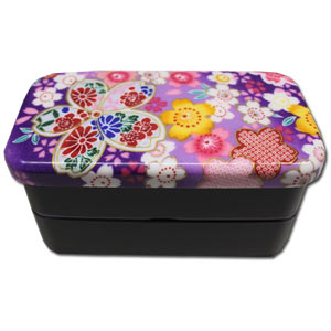 Purple Sakura Chirimen Patterned 2 Tier Bento Box with Elastic Band