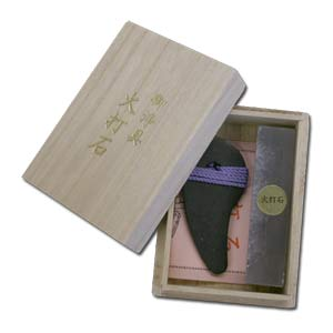HI-UCHI-ISHI ~ DX Natural Flint Stone Set in Wooden Box -- Magatama Amulet