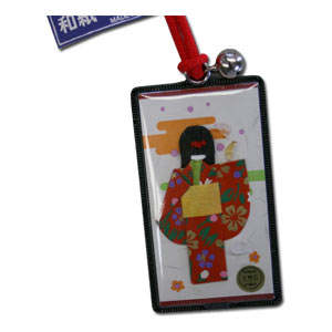Japanese Paper Doll Omamori with 5 yen & Natural Stone Charm