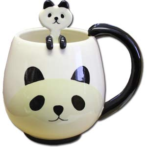 DECOLE Manmaru Panda Mug Cup & Spoon 