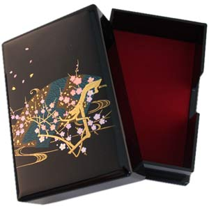 Elegant Sakura Genuine Laquered Business Card Box