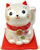 White Pearl Lucky Cat  Secret Message