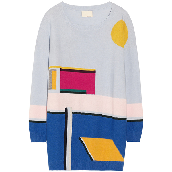 BAND OF OUTSIDERS  Pool-Intarsia Merino Wool Sweater