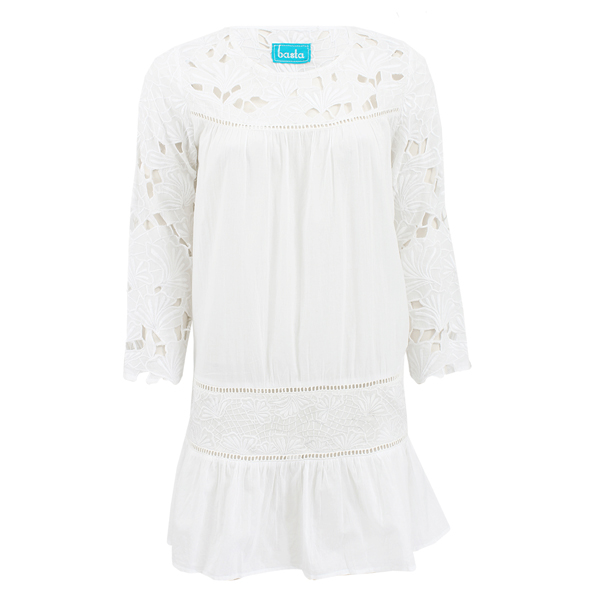 BASTA SURF Three Quarter Sleeve Embroidered Drop Waist Dress