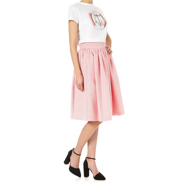 OLYMPIA LE-TAN Red Cotton Royal Clipper Skirt