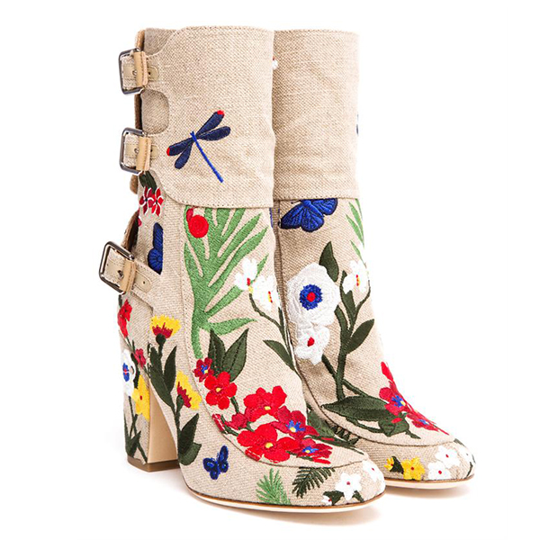 LAURENCE DACADE Merli Embroidered Canvas Boot