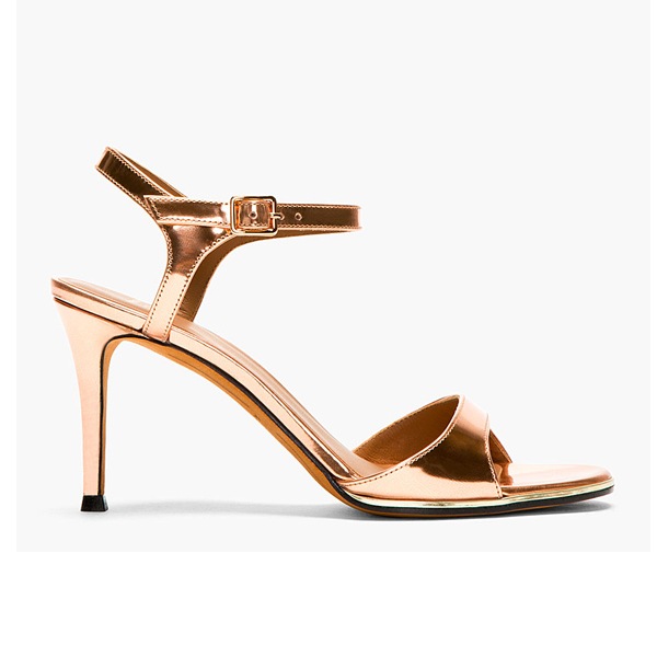 GIVENCHY   Bright Copper Patent Leather Sandals
