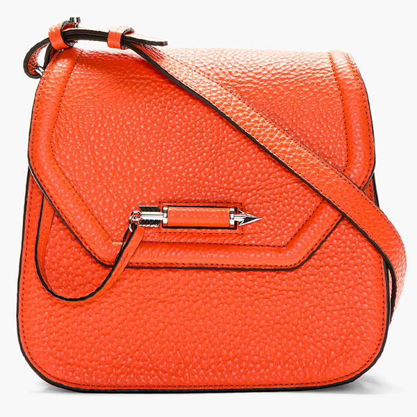 MACKAGE   Tangerine Pebbled Leather Cody Shoulder Bag