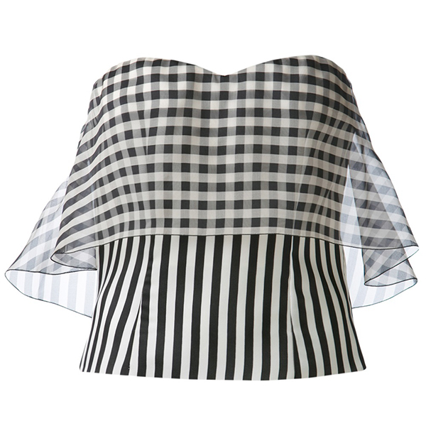 DELPOZO Striped Bodice Top