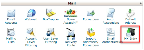 cPanel email section, including the MX Entry button