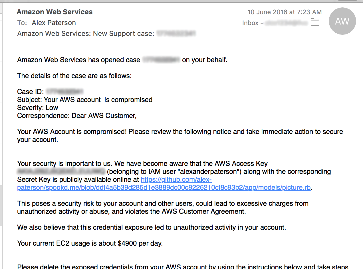 Account compromised email from AWS