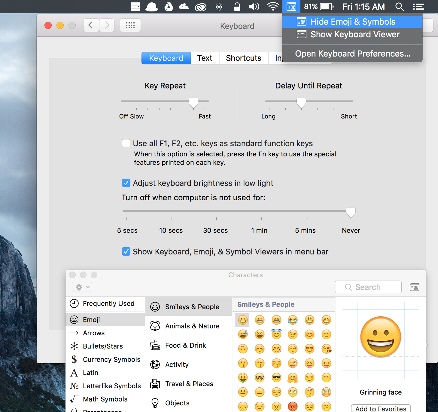 Osx status bar tricks for the mac poweruser alexander paterson in the keyboard preferences of your mac theres an option to add an emoji and symbols shortcut to the status bar the keyboard shortcut space also biocorpaavc Gallery
