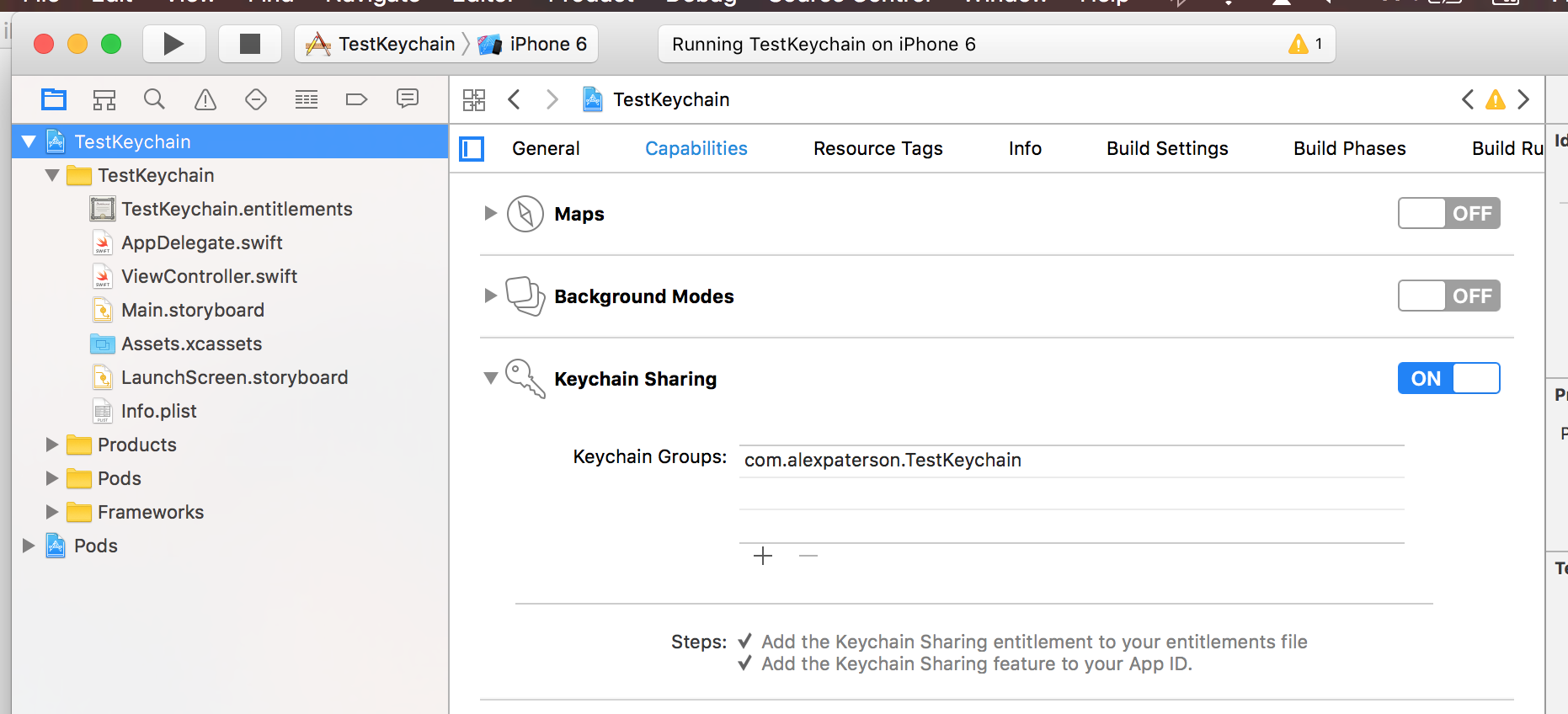 Enable Keychain Sharing