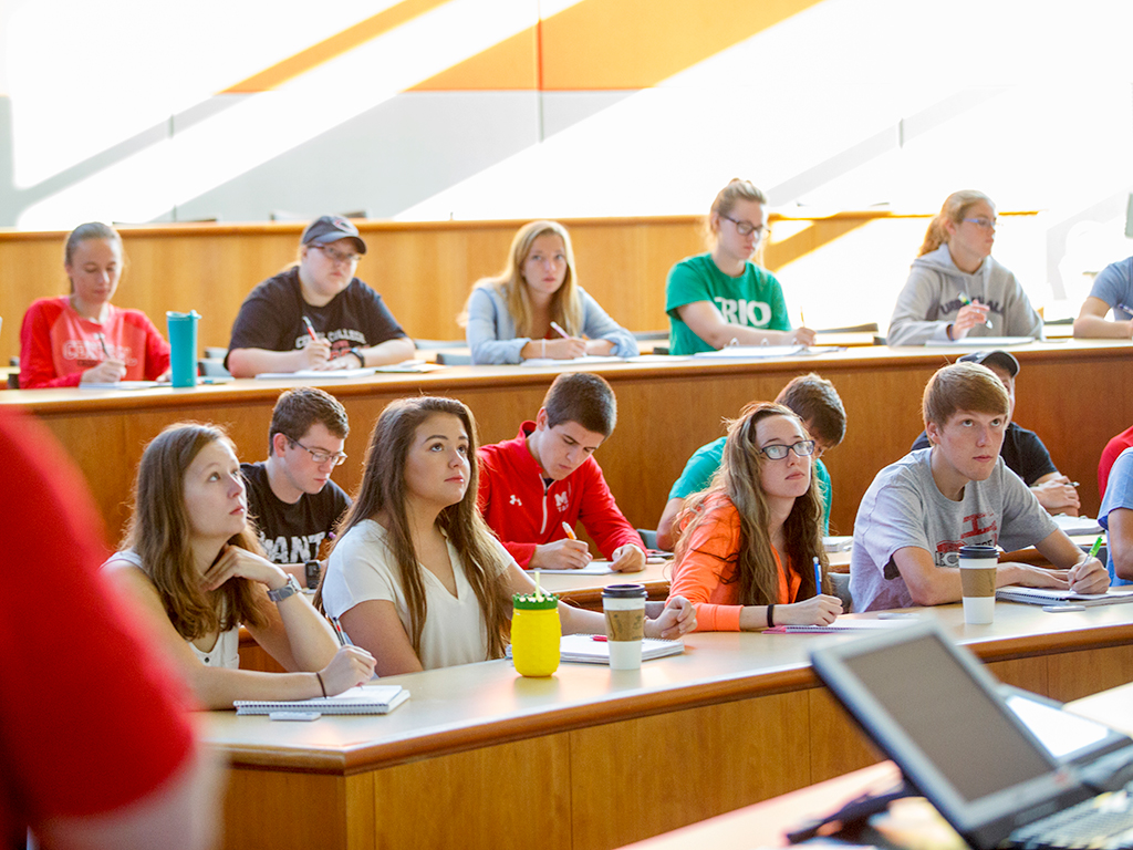Students in the Vermeer Science Center lecture hall.