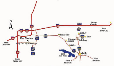 Map showing Roads into Pella, and directions from Nebraska, Kansas City, Iowa City, Oskaloosa and Knoxville.