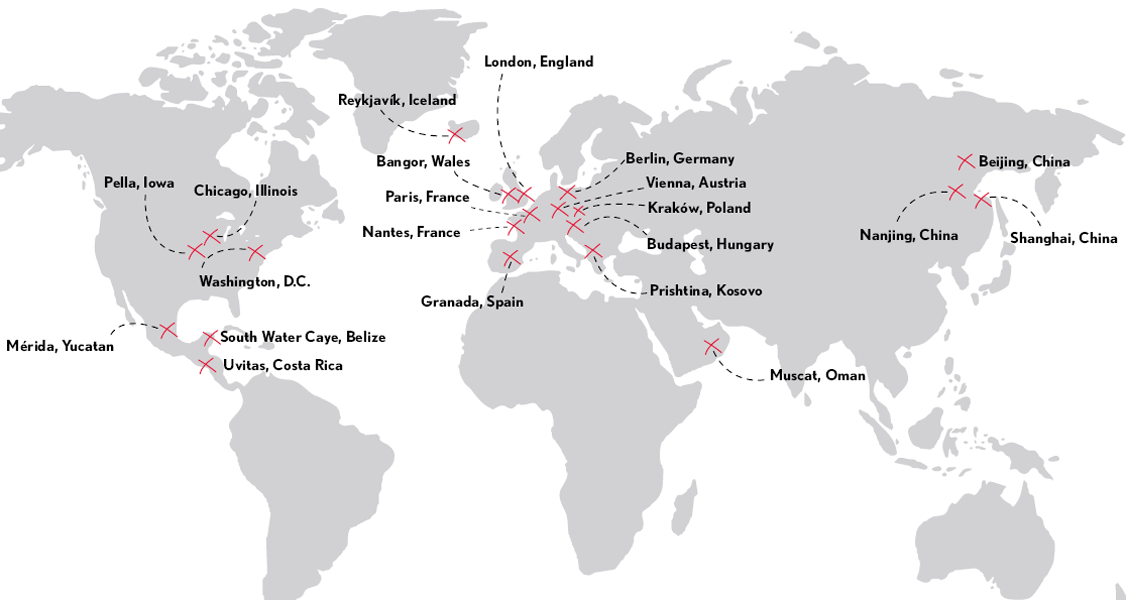 Map of Central College study abroad locations around the world.